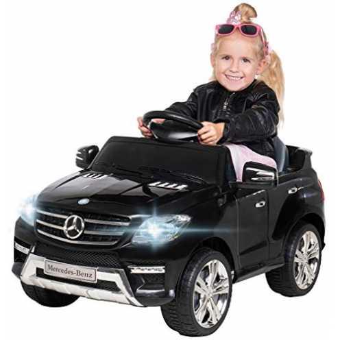 nachhaltig Kinder Elektroauto Mercedes ML 350 Original Lizenz Auto 2X 25 Watt Motor Kinderauto Kinderfahrzeug Elektroauto (Schwarz) ökologisch