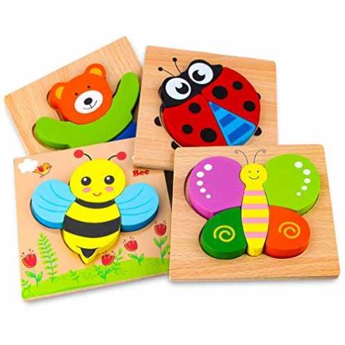 nachhaltig Holzpuzzle, Afufu Holzspielzeug ab 1 2 3 Jahren, 4 Stück Steckpuzzle Holz Holzspielzeug... ökologisch