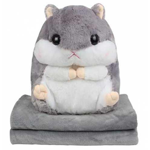 nachhaltig Alpacasso 3 IN 1 Cute Grau Plüsch Hamster Dekokissen und Folding Klimaanlage Car Blanket Kissen Set. ökologisch