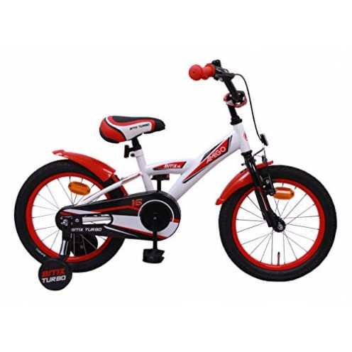 nachhaltig AMIGO BMX Turbo - Kinderfahrrad - 16 Zoll - Jungen - mit Rücktritt und Stützräder - ab 4 Jahre - Weiß/Rot ökologisch