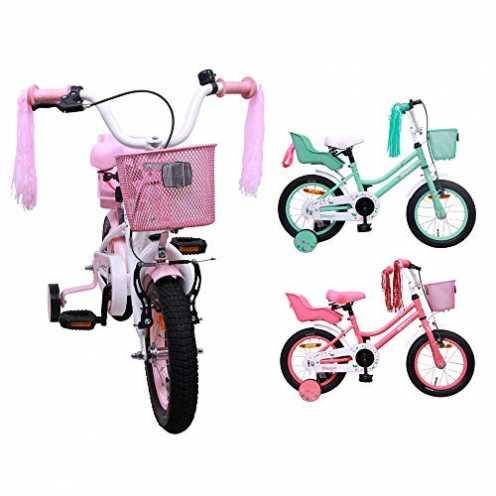 nachhaltig AMIGO Magic - Kinderfahrrad - 12 Zoll - Mädchen - mit Rücktritt und Stützräder - ab 3 Jahre - Weiß/Rosa ökologisch