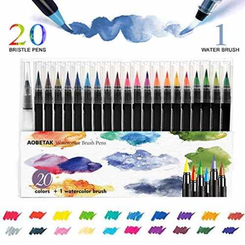 nachhaltig Brush Pen Set Pinselstifte,AOBETAK 20 Aquarellstifte + 1 Wasserpinsel,Weiche und Flexible Nylonspitze,Kalligraphie-St... ökologisch