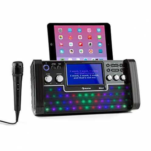 """nachhaltig auna DiscoFever LED Edition - Bluetooth-Karaokeanlage mit 7"""" TFT-Screen, Karaokemaschin... ökologisch"""