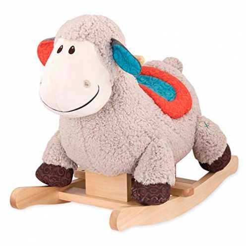 nachhaltig B. toys by Battat - Schaukelpferd Rodeo Rocker Schaf - BPA-freies Schaf Plüsch und Holz zum Aufsitzen für Kinder und ... ökologisch