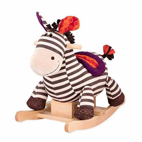 nachhaltig B. toys by Battat - Schaukelpferd Rodeo Rocker Zebra - BPA-freies Zebra Plüsch und Holz zum Aufsitzen für Kinder und ... ökologisch