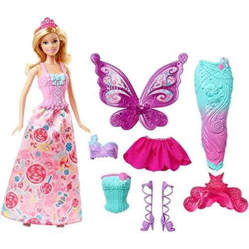 nachhaltig Barbie DHC39 - Dreamtopia 3-in-1 Fantasie Puppe, Fee, Meerjungfrau und Prinzessin, Geschenk Set mit 3 Outfits und Zub... ökologisch