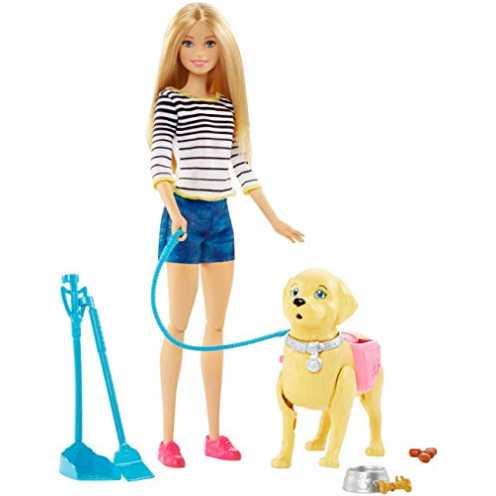 nachhaltig Barbie DWJ68 - Hundespaziergang Puppen Spielset, mit Puppe und stubenreines Hündchen, Mädchen Spielzeug ab 3 Jahren ökologisch