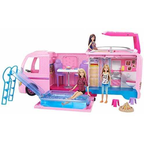 nachhaltig Barbie FBR34 - Super Abenteuer Camper, Puppen Camping Wohnwagen mit Zubehör, Mädchen Spielzeug ab 3 Jahren ökologisch