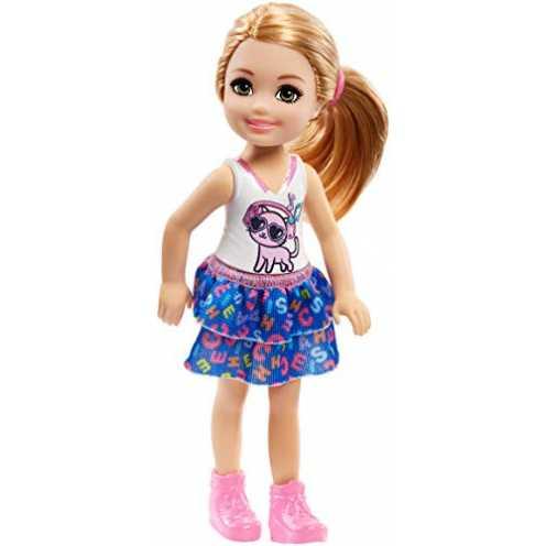 nachhaltig Barbie FRL82 - Chelsea Puppe mit Kätzchen Shirt, Mädchen Puppe 15 cm groß, Puppen Spielzeug ab 3 Jahren ökologisch