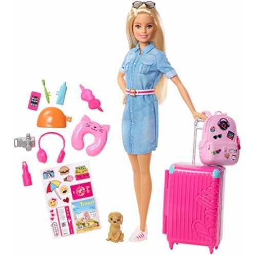 nachhaltig Barbie FWV25 - Reise Puppe mit blonden Haaren inkl. Reisezubehör und Hündchen, Puppen Spielzeug und Puppenzubehör ab ... ökologisch