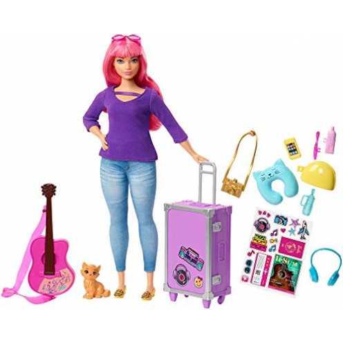 nachhaltig Barbie FWV26 - Reise Puppe mit pinken Haaren inkl. Reisezubehör und Kätzchen, Puppen Spielzeug und Puppenzubehör ab 3... ökologisch