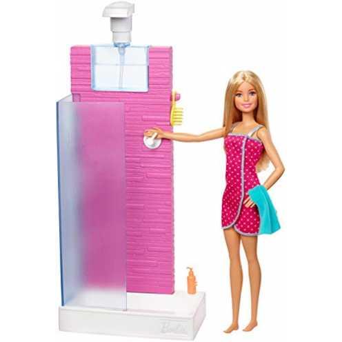 nachhaltig Barbie FXG51 - Deluxe Set Möbel Badezimmer und Puppe mit funktionierender Dusche, Puppen Spiezeug ab 3 Jahren ökologisch