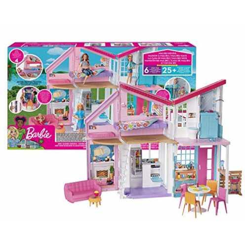 nachhaltig Barbie FXG57 - Malibu Haus Puppenhaus 60 cm breit mit +25 Zubehörteile, Puppen Spielzeug ab 3 Jahren ökologisch