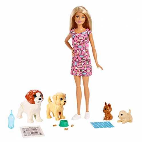 nachhaltig Barbie FXH08 - Hundesitterin Puppe und Welpen inkl. 4 Haustieren und Zubehör, Puppen Spielzeug und Puppenzubehör ab 3... ökologisch