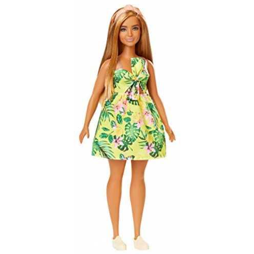 nachhaltig Barbie FXL59 - Fashionistas Puppe im Hawaii Kleid, Spielzeug ab 3 Jahren ökologisch