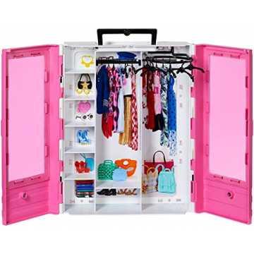 Barbie GBK11 - Tragbarer Traum Kleiderschrank mit Kleiderbügel, Puppenzubehör und Puppen Spielzeug ab 3 Jahren