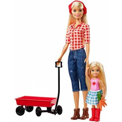 nachhaltig Barbie GCK84 - Farm Barbie und Chelsea Puppe mit rotem Ziehwagen und Zubehör, Puppen und Puppenzubehör ab 3 Jahren ökologisch