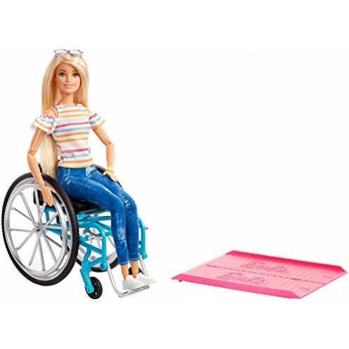 nachhaltig Barbie GGL22 - Rollstuhl und Puppe blond gelenkig, Puppen und Spielzeug ab 3 Jahren ökologisch
