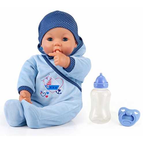 nachhaltig Bayer Design 94683AA -Funktionspuppe Hello Baby Boy mit Zubehör, 46 cm, blau ökologisch