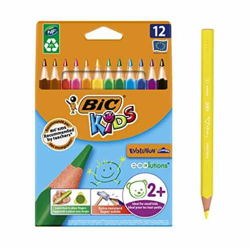 nachhaltig Bic Kids ECOlutions Evolution Buntstifte - Dreikant Farbstifte für Kinder ab 2 Jahren - Ergonomisch - Fördert richtig... ökologisch