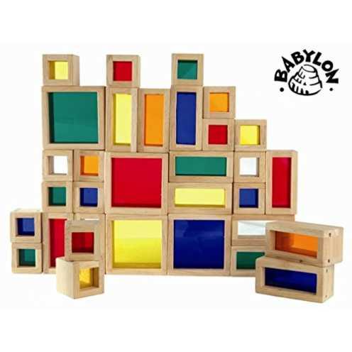 nachhaltig Fensterbausteine Holz Bauklötze Bausteine 32er Set in Holzbox ökologisch