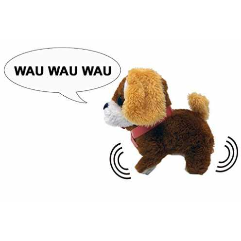 nachhaltig Plüschtier Hund mit Funktion - einschalten und der Welpe bellt und springt los, 3-fach ... ökologisch