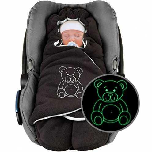 """nachhaltig ByBoom - Baby Winter-Einschlagdecke""""Das Original mit dem Bären"""", Universal für Babyschale, Autositz, z.B. für Maxi-Co... ökologisch"""