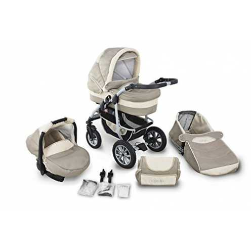 nachhaltig Clamaro 'CORAL' Kinderwagen 3in1 Kombi System mit Babywanne, Sport Buggy und 0+ (0-13 kg) Auto Babyschale, Luftreifen... ökologisch