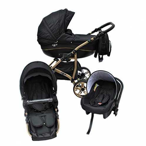 nachhaltig Cleo Kombi Kinderwagen 3 in 1 schwarz/gold - mit Vollgummireifen ökologisch