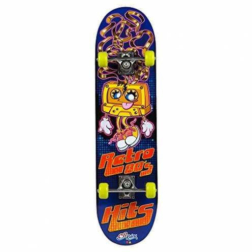 nachhaltig COLORBABY Skateboard aus Holz, Größe 79x 20cm, mit Aluminium Achse und Rollen PVC 50x 30mm Retro-80er-Jahre ökologisch