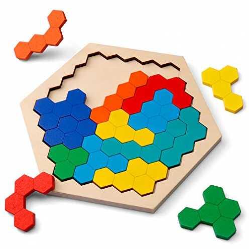 nachhaltig Coogam Hölzernes Sechseck-Puzzle - Form Block Tangram Denkaufgabe Spielzeug Geometrie L... ökologisch