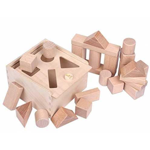 nachhaltig CreaBLOCKS Holzbausteine 2-in-1: Steckbox und Baby-Bauklötze-Set unbehandelte Bauklötze... ökologisch