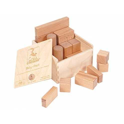 nachhaltig Holzbausteine Baby-Pack unbehandelte Bauklötze für Kleinkinder ab 6 Monaten Made in Ger... ökologisch