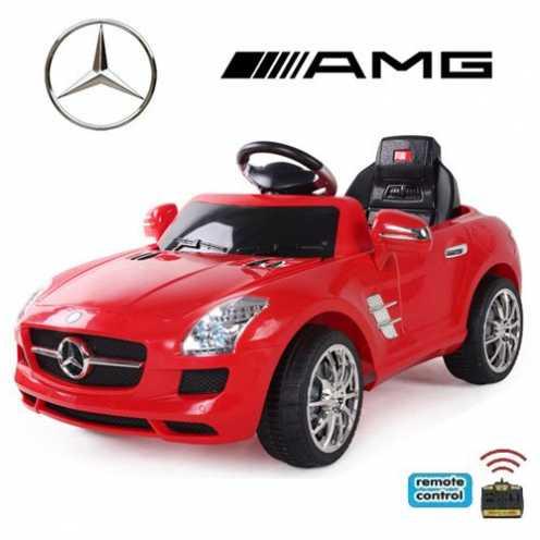 nachhaltig crooza *2X Motoren* Soft-Start Original Mercedes-Benz AMG SLS Lizenz Kinderauto Kinderfahrzeug (ROT) ökologisch