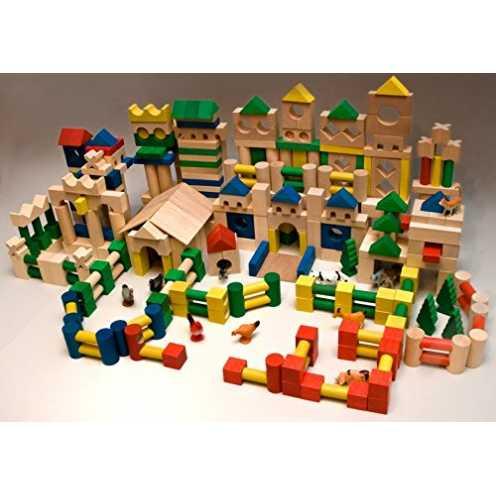 nachhaltig 500 Holzbausteine Holz Bausteine Bauklötze Holzklötze bunt Buche ökologisch