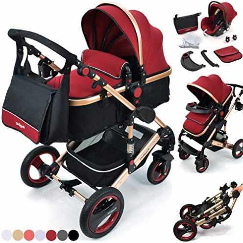 nachhaltig Daliya Bambimo 3 in 1 Kinderwagen - Kombikinderwagen Riesenset 14-Teilig incl. Babywanne & Buggy & Auto-Babyschale - ... ökologisch