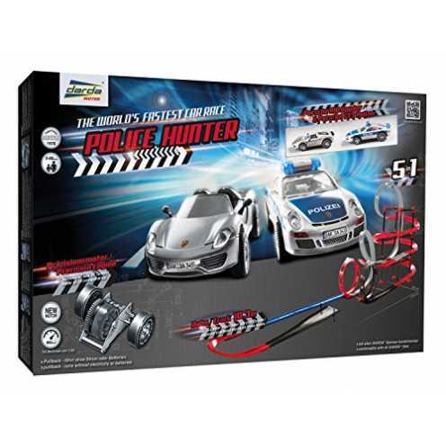 nachhaltig Darda 50249 - Darda Rennbahn Police Hunter, Fahrbahnlänge ca. 10,30 m, mit 2 Porsche GT... ökologisch