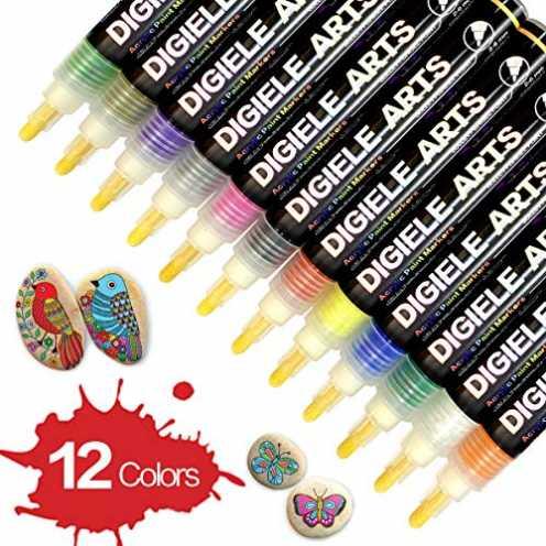 nachhaltig DIGIELE Steine Bemalen Stifte Set, 12 Farben Wasserfeste Permanent Acrylstifte Marker, Kinder DIY Stift Art für Stein... ökologisch