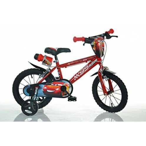 nachhaltig Cars Kinderfahrrad Lightning McQueen Jungenfahrrad - 14 Zoll | TÜV geprüft | Original Lizenz | Kinderrad mit Stützräd... ökologisch