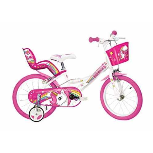 nachhaltig Dino Bikes 164R-UN Einhorn-Fahrrad, Weiß / Rosa ökologisch