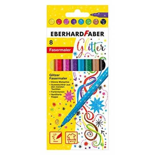 nachhaltig Eberhard Faber 551008 - Glitzer Fasermaler im Kartonetui, 8er ökologisch