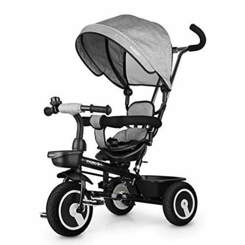 nachhaltig Fascol Dreirad 6 in 1 Kinderdreirad Kinder Fahrrad Baby Kleinkinder mit Lenkbarer Schubstange, mit FlüSterleise Gummi... ökologisch