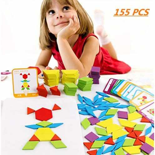 nachhaltig FISHSHOP Holzpuzzles 155 Teilig Geometrische Formen Puzzle Bausteine Montessori Spielze... ökologisch