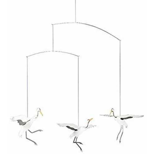 nachhaltig Flensted Mobiles - Kranich - Tanzende Kraniche - Mobile - Windspiel - 45 x 45 cm ökologisch