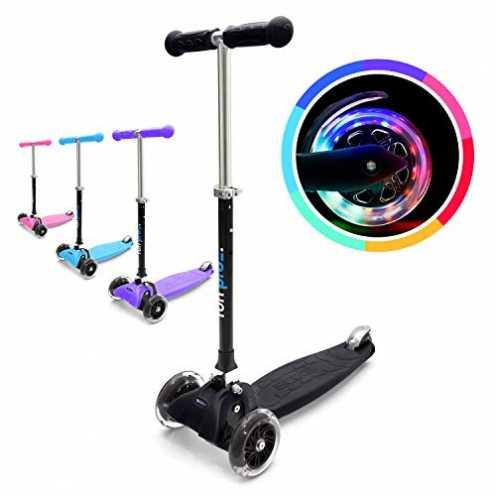 nachhaltig fun pro ONE - der sichere Premium Kinder Roller, LED 3 (DREI) Räder, faltbar, ab Kleinkind (Kickboard, Tretroller), f... ökologisch
