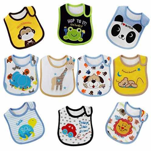 nachhaltig FUTURE FOUNDER Baby Lätzchen Wasserdicht Weich 10er Halstücher aus Baumwolle mit Klettv... ökologisch