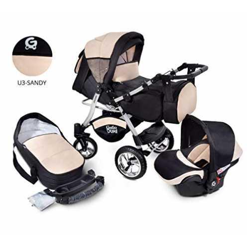 nachhaltig Urbano Kombikinderwagen Kinderwagen Babyschale 3in1 System Autositz (U3-Sandy) ökologisch