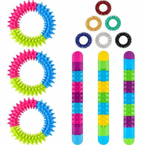 nachhaltig Gejoy 12 Stücke Zappeln Armbänder und Ringe Set, 12 Sensorische Spielzeug Einschließlic... ökologisch