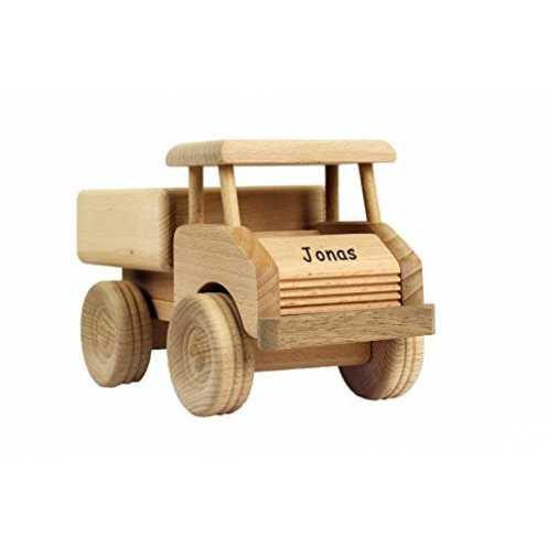 nachhaltig Geschenkissimo Holz-LKW für Kinder - Spielzeug Lastwagen mit Namen - Gravur - Massives ... ökologisch