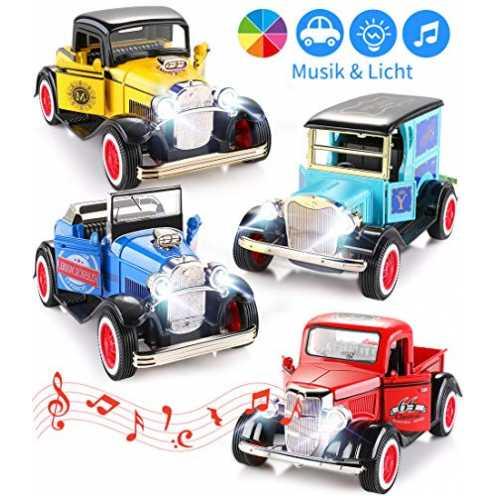 nachhaltig Aufziehautos Spielsachen Spielzeugauto Set Aufzieh LKW und Auto Spielzeug Druckgussauto... ökologisch